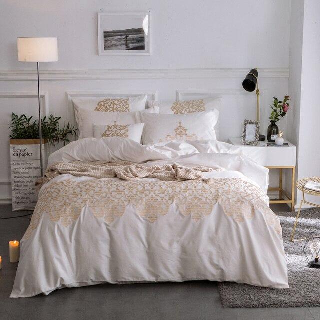New Luxury Egyptian Cotton Bedding Set Gold Embroidery White Blue