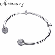 Moonmory Moments Silver Open Bangle with Pave Caps S925 Sterling Silver bead Bracelet with Clear Zircon For Woman Diy Jewelry moonmory sparkling bow bangle s925 sterling silver bow tie shaped bracelet with clear zircon for woman diy silver jewelry bangle