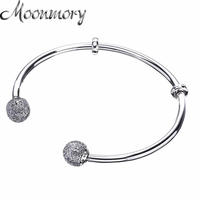 Moonmory Moments Silver Open Bangle with Pave Caps S925 Sterling Silver bead Bracelet with Clear Zircon For Woman Diy Jewelry
