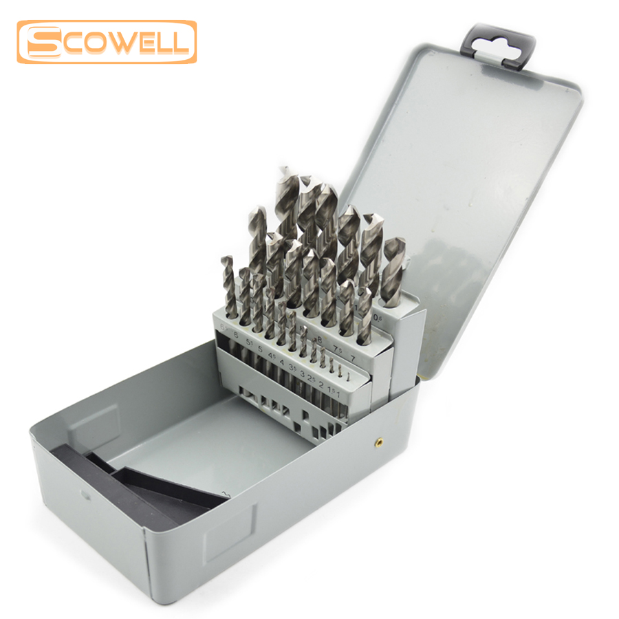 20% OFF 25pcs DIN338 metal box Twist drill bits set ,HSS 4341 and HSS M2 straight shank drill bits for wood ,metal and plastic free shipping of 1pc hss 6542 made cnc full grinded hss taper shank twist drill bit 11 175mm for steel