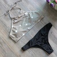 2018 Design Summer Geometry Printed Swimwear Women Sports Swimsuit Bikinis Sexy Green High Neck Bikinis Set