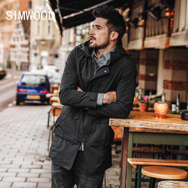 SIMWOOD 2018 Autumn Winter New Long Jackets Men Slim Fit Fashion Pocket Hooded Trench Coats High Quality Brand Clothing JK017013