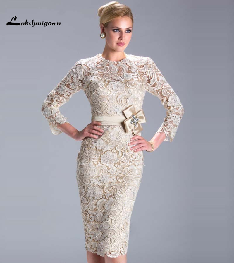 Modest Long Sleeve Champagne Mother of Bride Dresses...