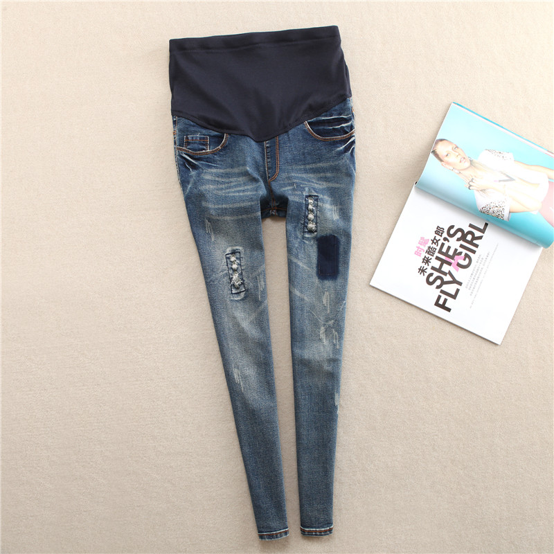 5c0edbfd5 Abdominal Jeans para mujeres embarazadas Denim Skinny pantalones enfermería maternidad  ropa elástico cintura embarazo pantalones ropa