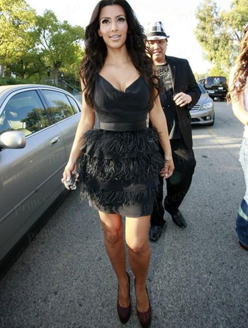 Fábrica Libre del envío Por Encargo Corto Vaina V Escote Vestido de Kim Kardashian Negro MF052 Tiererd