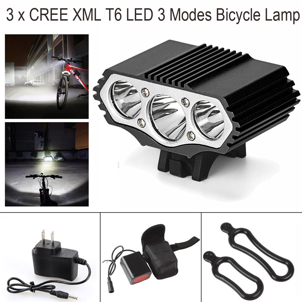 Powerful 12000LM 3x XML T6 LED Head Bicycle Bike light Headlamp Lamp 6400mAh+AC
