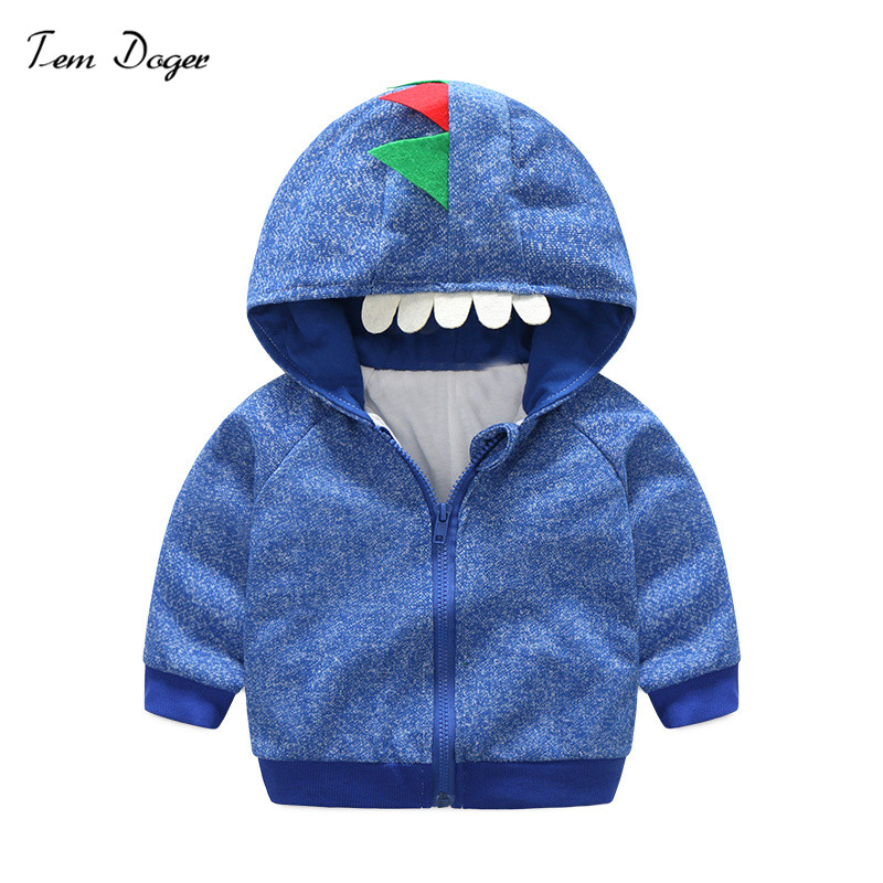 Tem Doger Spring Autumn Boys Tops Jackets Casual Hooded Baby Boys Long Sleeve Outerwear Coats Monster Jackets for Boys