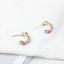 Europe America Hyperbolic Vintage Round Circle Acrylic Beads Simple Hoop Earrings Fashion Jewelry-LAF