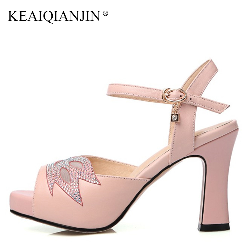 KEAIQIANJIN Woman Summer Peep Toe White Wedding Sandal Sexy Pink High Heels Shoes Genuine Leather Open Toe Crystal Sandals 2018 cdts 35 45 46 summer zapatos mujer peep toe sandals 15cm thin high heels flowers crystal platform sexy woman shoes wedding pumps