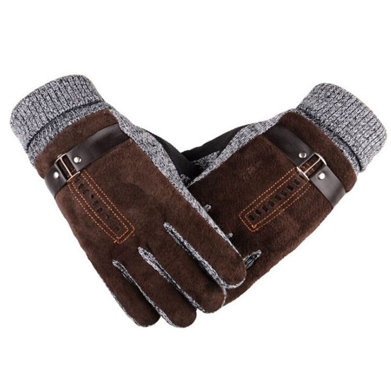 Winter Men's Warm Gloves Natural Suede Leather Gloves Mittens Male Thick Thermal Leather Gloves Men Knitted Guantes Z05
