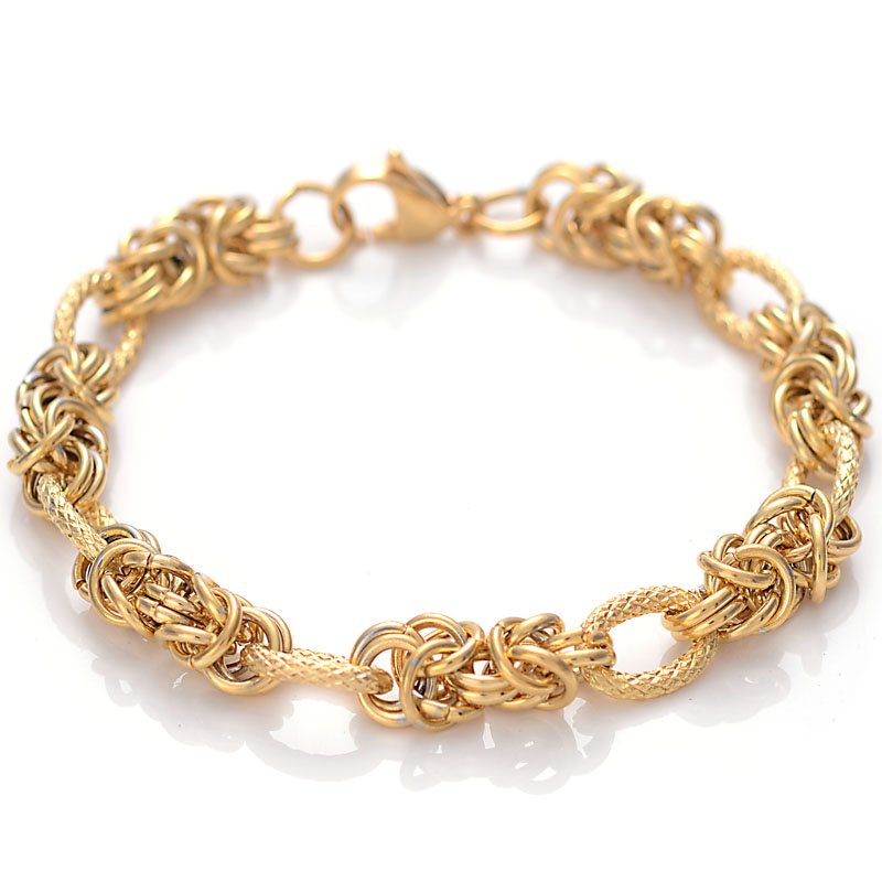 Handmade 22cm Womens Mens Charm Bracelet Stainless Steel Charm Jewelry Gold/Silver Color Curb Cuban Link Chain Bracelet table