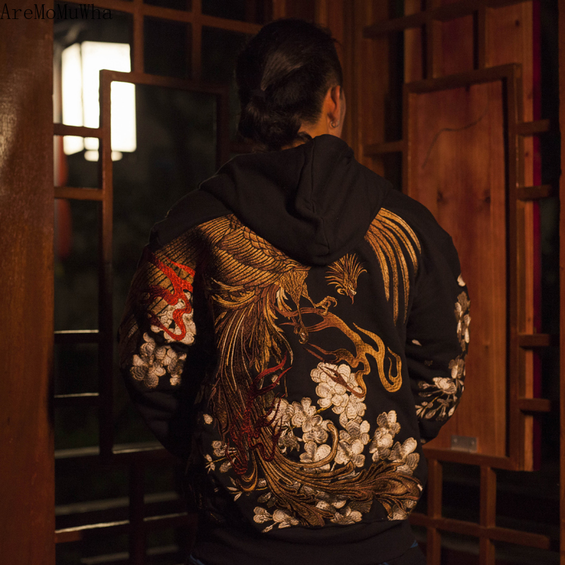 Мужская толстовка с капюшоном и вышивкой AreMoMuWha, черная толстовка с капюшоном в японском стиле Харадзюку, с вышивкой вишни, Осень зима 2019