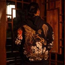 AreMoMuWha סתיו וחורף יפני כבד רקמת גברים של סלעית הסווטשרט דובדבן Suzaku רקמת Harajuku שחור HoodieQX1096