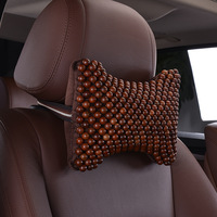 1 Pair Summer Brown Car Neck Pillow Handmade Mahogany Wood Beads Massage Auto Seat Headrest Support for Car Styling