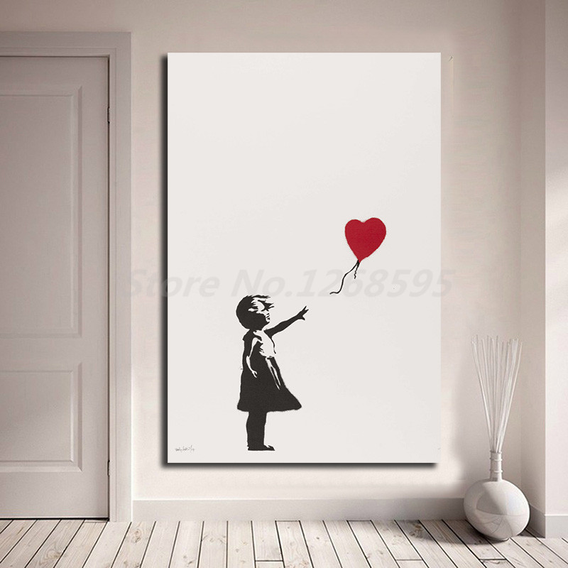 Banksy Girl With Balloon Wall Art Canvas Poster And Print Canvas Painting Decorative Picture For Office Living Room Home Decor samsung vase fire extinguisher