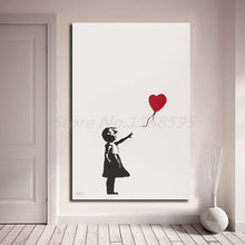 Banksy Girl With Balloon Wall Art Canvas Poster And Print Canvas Painting Decorative Picture For Office Living Room Home Decor(China)