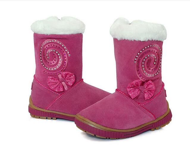 2016 New Children Shoes Winter suede shoes really Piga velvet boots children cotton rhinestone Girls snow boots 25-28