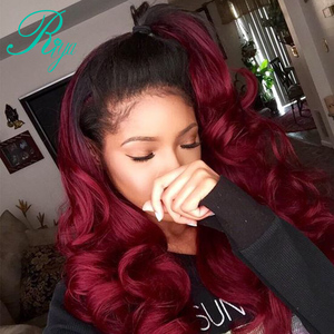 Image 1 - 13X4 #1B/99J Color Ombre Peruvian Human Hair Wigs Lace Frontal Body Wave Hair Wigs With Baby Hair Burgundy Remy Wig Riya