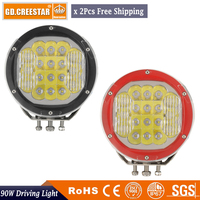 GDCREESTAR Pair 90W 7inch LED Driving Light Black Red Off Road Led Work Lights Combo Beam