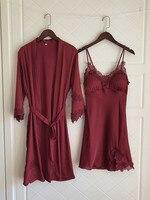 Robe Sets Femme 2018 Summer Bridesmaid Robes Sexy Dressing Gowns for Women Kimono Nightdress Nightwear Sleepwear Peignoir Red