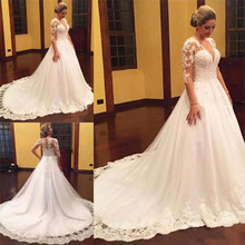 SexeMara Long Sleeves V-Neck Wedding Dress with