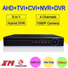 Blue-Ray Case 5-in-1 25fps 4 Channel 1080P/1080N/960P/720P Hisilicon Chip 4CH Hybrid Coaxial NVR CVI TVI AHD DVR Free Shipping
