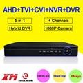 Blue-Ray Caso 5-en-1 25fps 4 Canales 1080 P/1080N/960 P/720 P Chip de Hisilicon $ NUMBER CANALES Coaxial Híbrida NVR CVI TVI AHD DVR Envío Gratis
