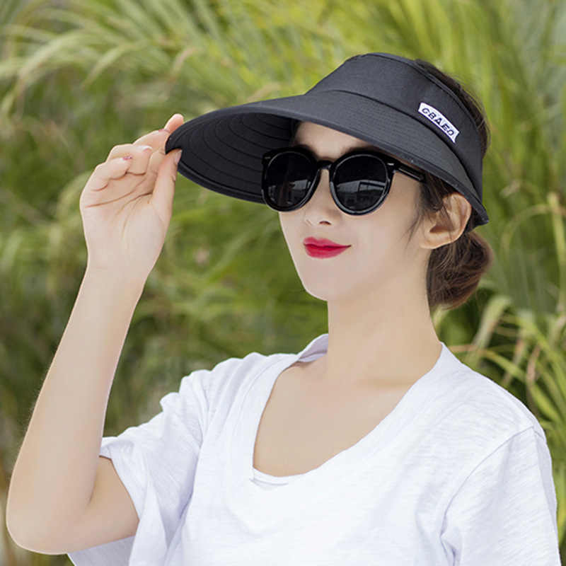 8c44fd889cb ... Sun Hat Summer Empty Top Hats Fashion Visors Women Foldable Wide Brim  With Outdoor Travel UV ...