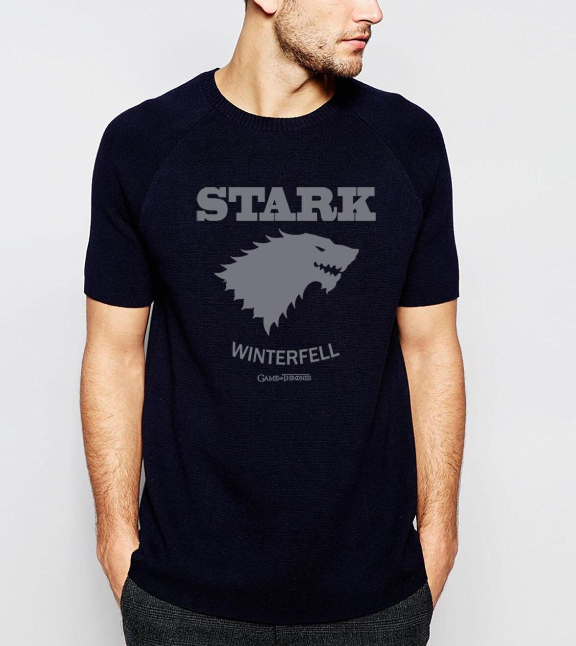 HAMPSON LANQE  Game of Thrones House Stark Winterfell T Shirts Men 2019 Summer 100% Cotton Men's Tops Tees Casual T-Shirt S-XXL