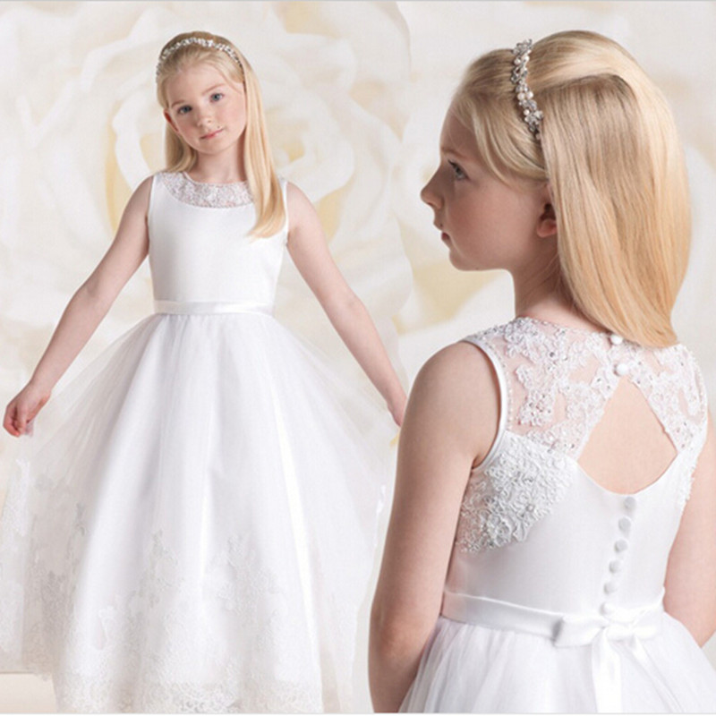 White ivory long   flower     girl     dress   open back holy communion   dress     girls   pageant evening gowns vestido de festa infantil menina