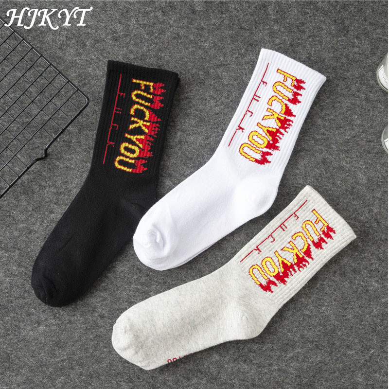 Clearance Crew Dhl Flame Fire Socks Art Funny Hip-hop Man Woman Skate Motion Off-white Black White Long Harajuku Street Style