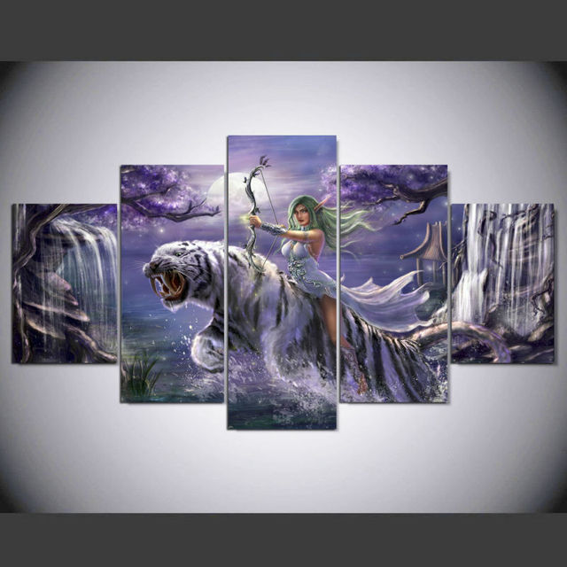 HD Print Frame Canvas Painting Home Decor 5 Panel Game Warcraft ...