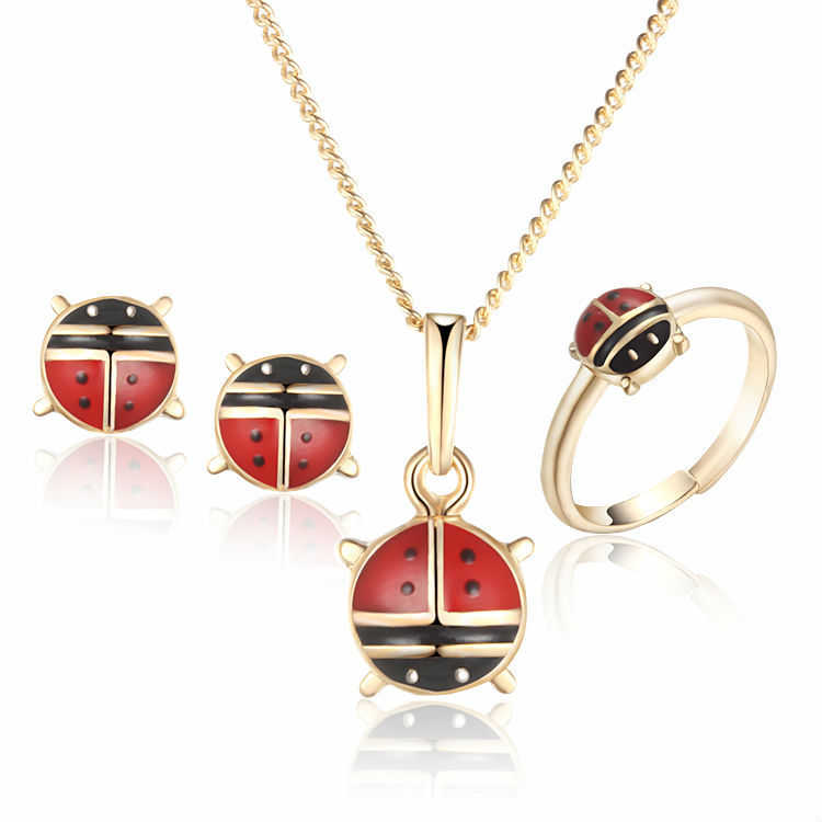 New 2017 Children Jewelry Sets Baby Costume Heart Ring Earrings Pendant Necklace For Kid Gold-Color  1S18K-57