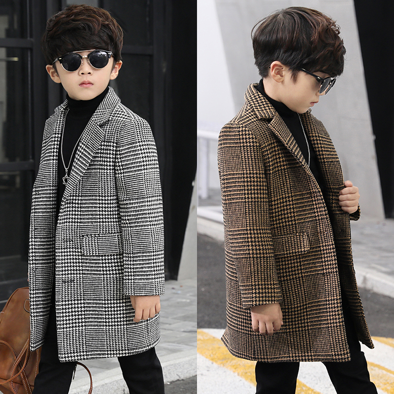 Boys wool coat fashion single-breasted plaid small suit in the long section children's coat casual boy woolen coat new winter цена