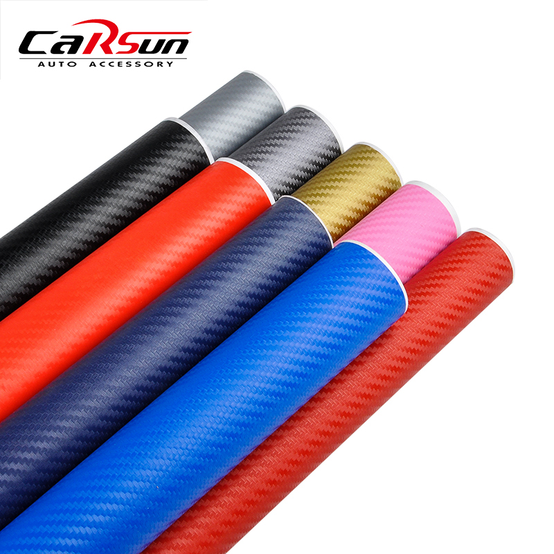 200cmx50cm 3D Waterproof Carbon Fiber Vinyl Film DIY Car Stickers And Decals Wrap Sheet Roll 11 Colors Available Car-styling