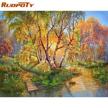 RUOPOTY frame autumn river diy painting by numbers landscape acrylic paint by number for home decor wall art picture unique gift(China)