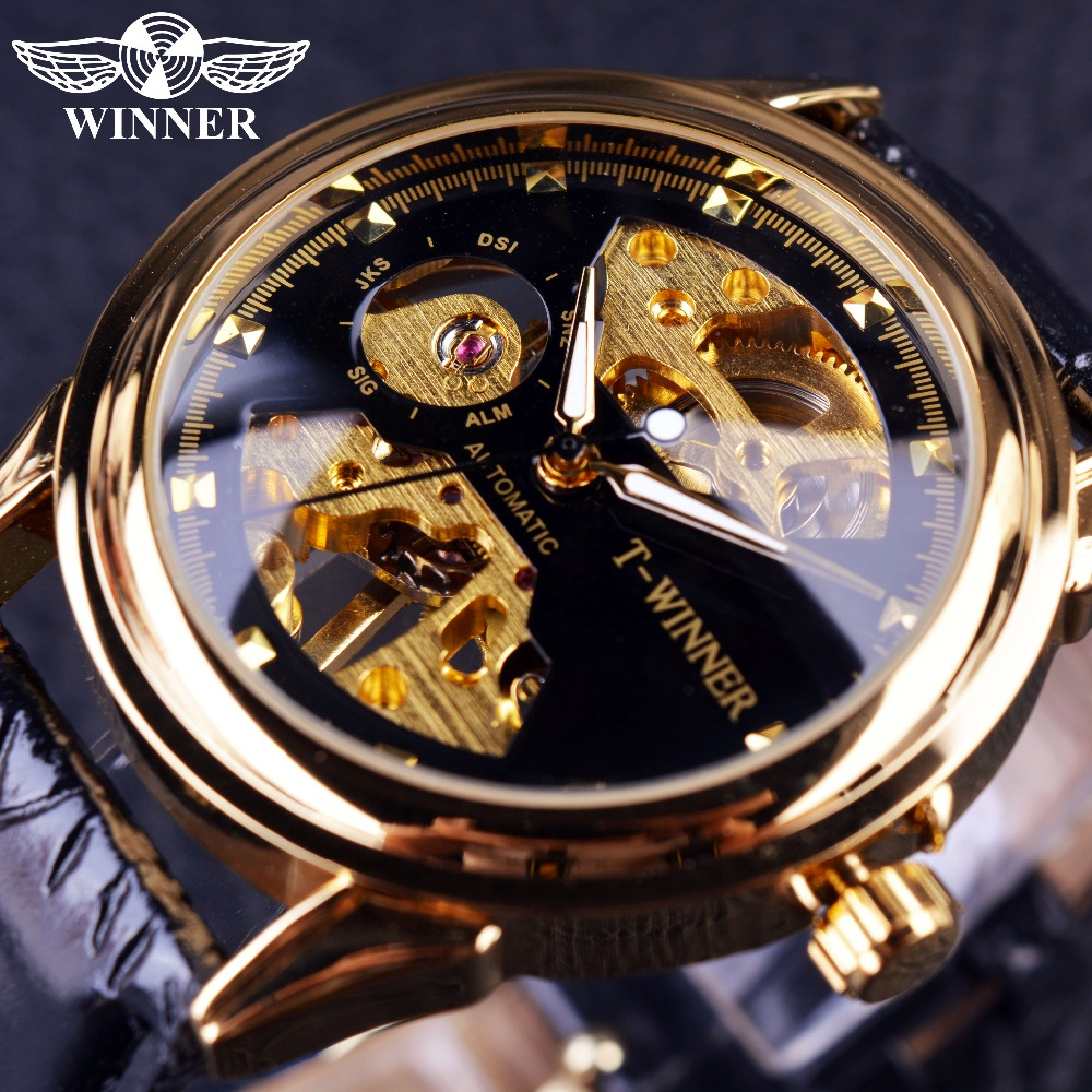 Winner 2016 Black Golden New Design Mens Watches Top Brand Luxury Watch Men Half Skeleton Watch Clock Men Casual Fashion Watches