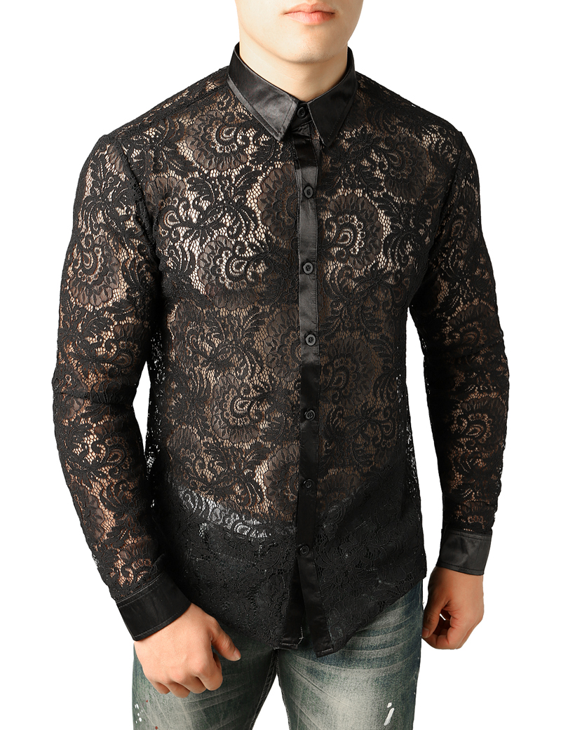 2019 Sexy Lace Rose Floral Shirt Men 2018 Brand New Long Sleeve Mesh