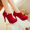 New Fashion Women Pumps Sexy Round Toe Thin High Heels Shoes Woman Autumn Winter Zipper Flock Pumps Plus Size