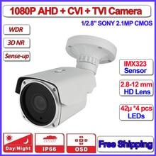 HD AHD Analógica cámara bala 1080 P AHD-H L IMX323 Visión Nocturna de cámaras de seguridad al aire libre, Lente de distancia focal variable, OSD, + soporte gratuito