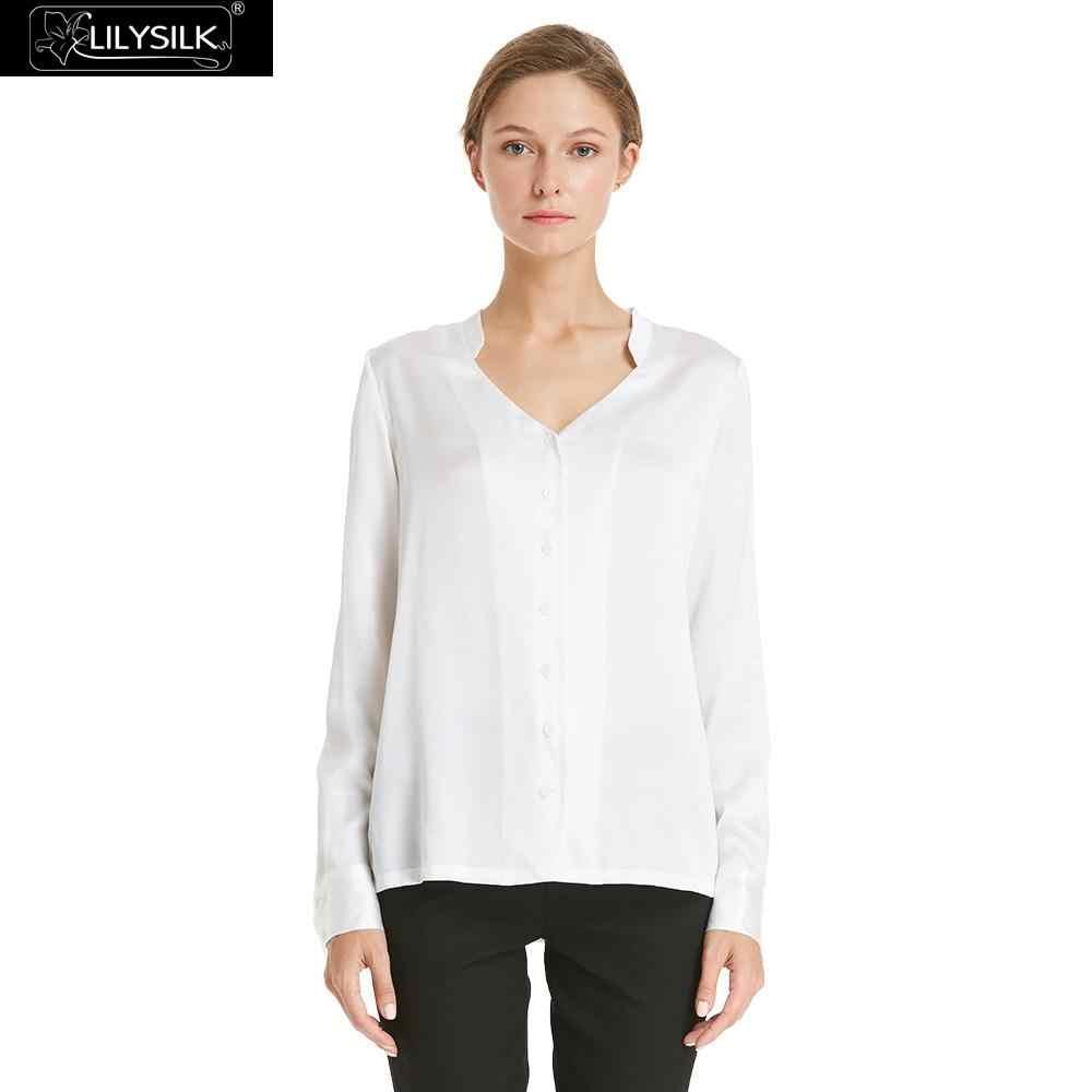 LILYSILK рубашка блузка женская элегантная женская шелковая 22 мм офисная с v-образным вырезом Женская Бесплатная доставка Распродажа