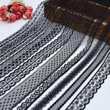 2018 gloednieuwe kwaliteit 10 yards mooie zwarte kant netto kant borduurwerk / trouwjurk kleding accessoires
