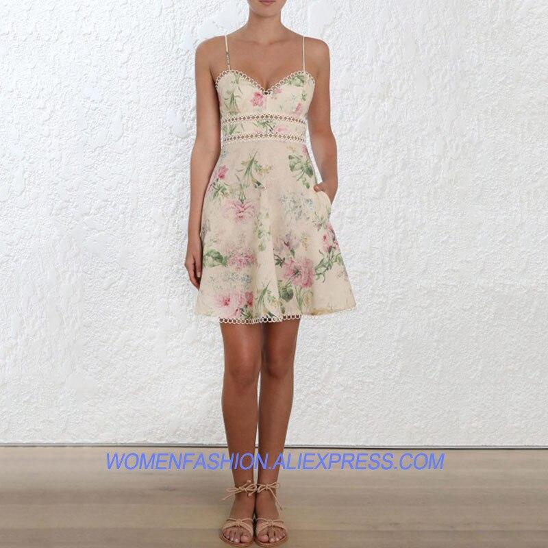 Floral 2018 Plage De Évider Gaine Robe Élégant Courroie Imprimé Robes Boho Dress Sexy Vêtements Mini Parti Femme Designer Femmes 7dEn8Oqw