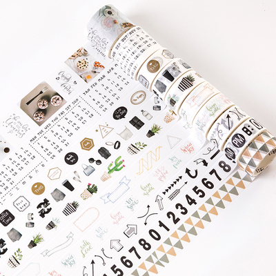 10 Rolls/set Nordic Northern Europe Life Number Arrows Cactus Washi Tape DIY Planner Diary Scrapbooking Masking Tape Escolar