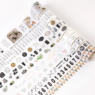 10 Rolls/set Nordic Northern Europe Life Number Arrows Cactus Washi Tape DIY Planner Diary Scrapbooking Masking Tape Escolar