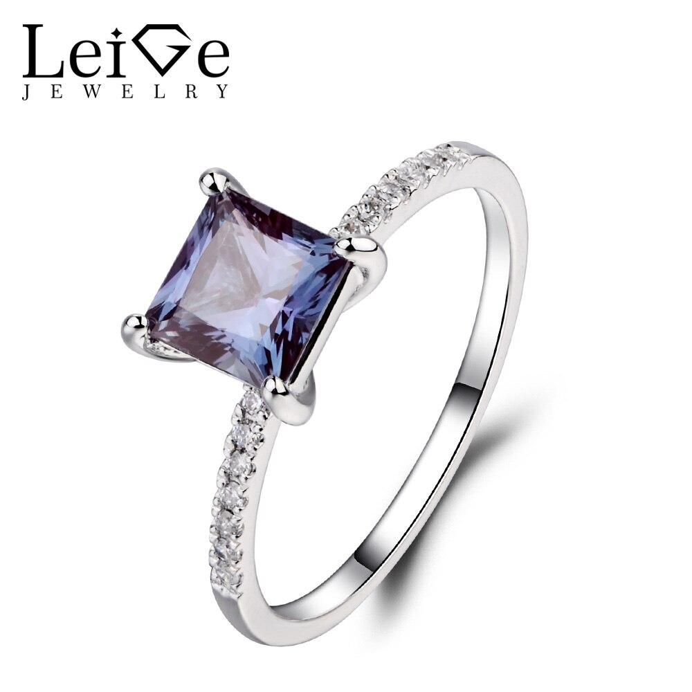 Leige bijoux princesse coupe Alexandrite anneaux pour femmes en argent Sterling 925 bijoux fins bagues de fiançailles de mariage