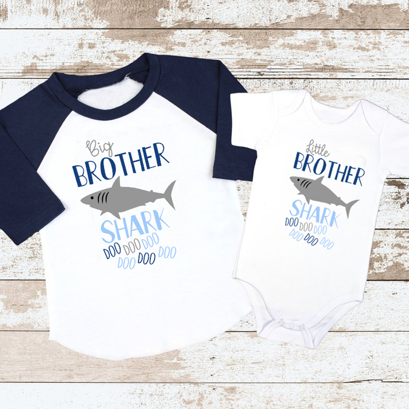 Little Brother Romper Big Brother T shirt Cute Kid Baby Boys Shark Print T-shirt Outfits Clothes