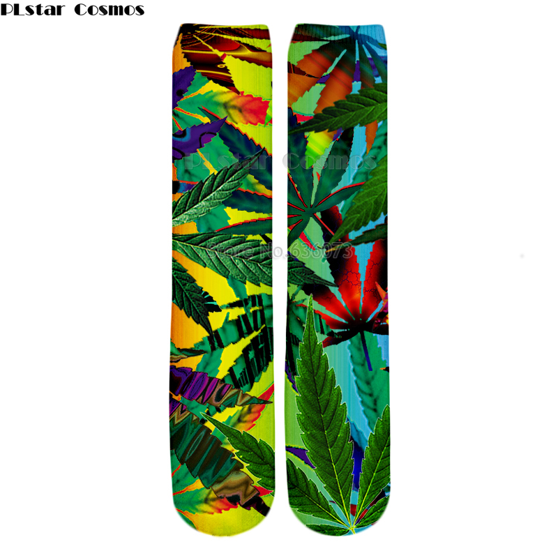 PLstar Cosmos Drop shipping 2018 New style Fashion Knee High Socks Colorful weeds and Red rose Print 3d Men's Women's Sock 1