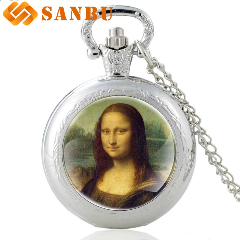 Fashion Women Silver Necklace Watch Vintage Style Da Vinci Works Mona Lisa Quartz Pocket Watch Antique Pendant Jewelry
