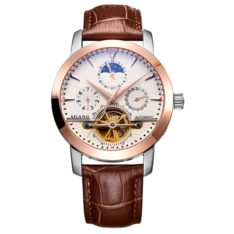 AILANG 2606 Switzerland watches men luxury brand automatic moon phase hollow tourbillon leather Gold white relogio masculino ailang 8221a switzerland watches men luxury brand automatic double tourbillon moon phase hollow business watch relogio masculino